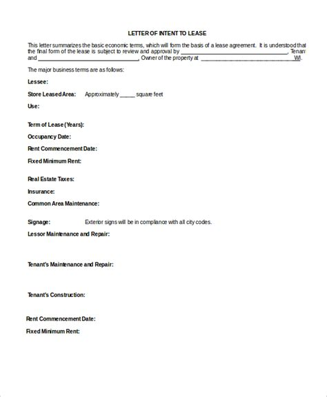 lease letter of intent template letter of intent to lease commercial space template