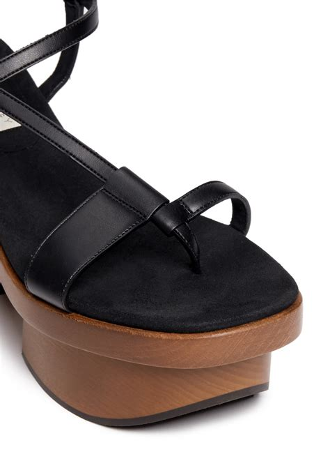 bookchair medium wooden black lyst mccartney chunky wooden heel platform sandals in black