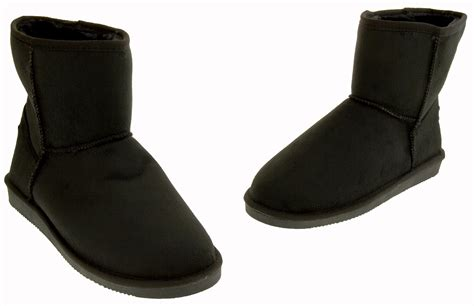 womens rock winter boots faux suede warm fur lined