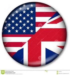 Web button with the usa and uk flags representing the 2 mostly used