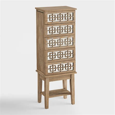 wood jewelry armoire white wood lavarre jewelry armoire world market