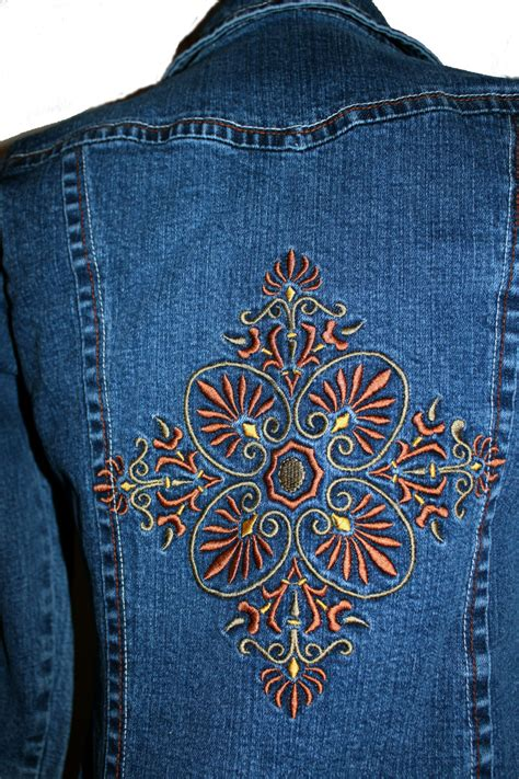 design jean jacket jean jacket s copper medallion design