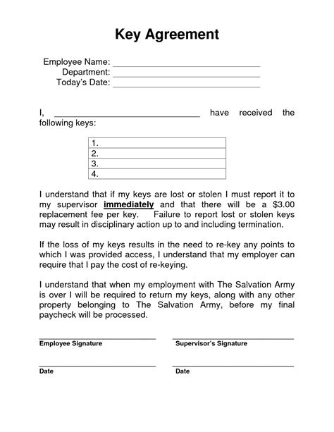 Key Agreement Template 10 Best Images Of Employee Pay Agreement Money Loan Contract Template Salary Reduction