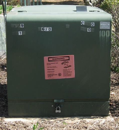 green electrical transformer boxes in front yard power