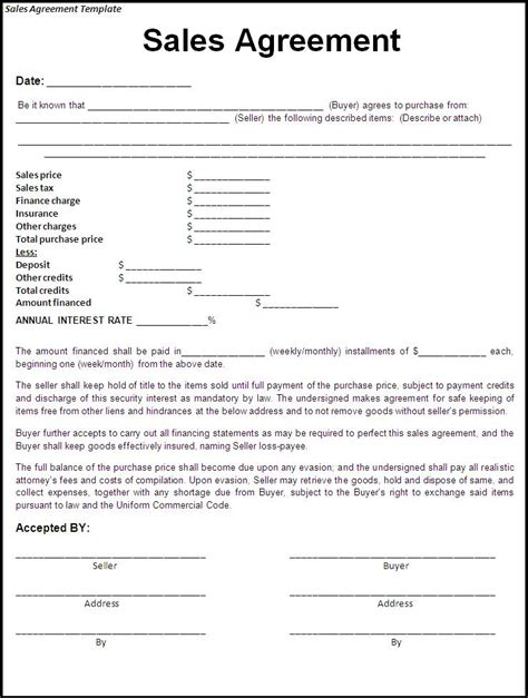 simple sales contracts free printable sale agreement form form generic