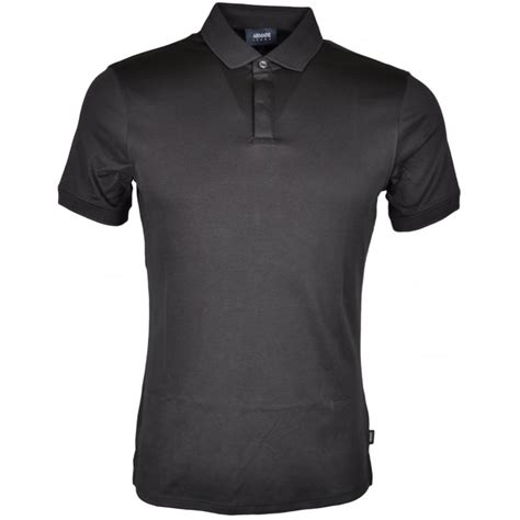 armani 3y6f28 plain slim fit black polo armani