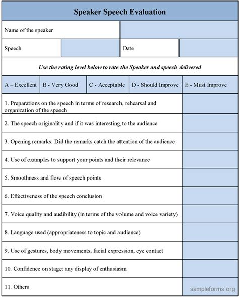 evaluation form template speaker speech evaluation form sle speaker speech