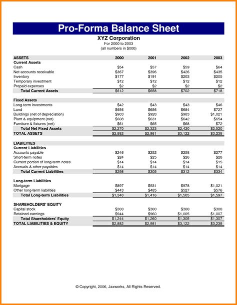 Pro Forma Profit And Loss Statement Template by 10 Sle Pro Forma Financial Statements Statement