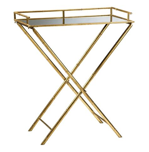 regency gold leaf bamboo mirrored tray table