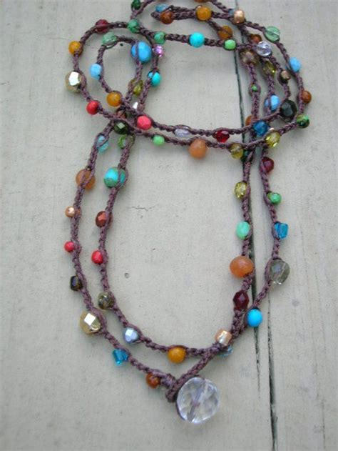 crochet beaded necklace surfer crochet wrap bracelet beaded necklace by