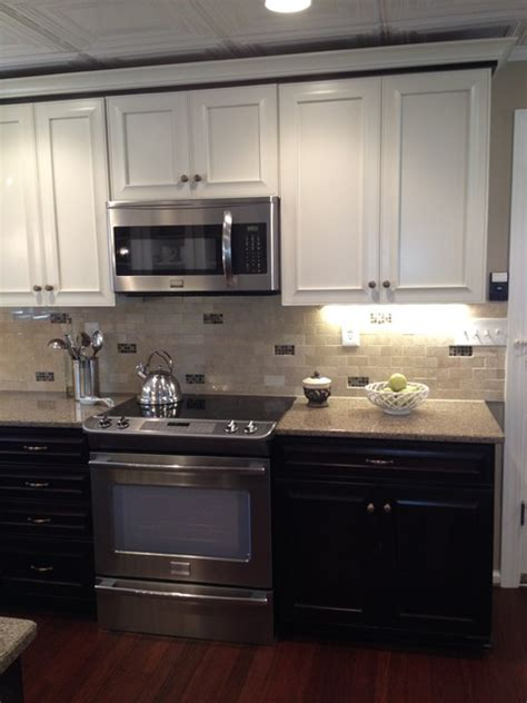 Two Tone Cabinets Kitchen Kraftmaid Kendall Peppercorn And Canvas Traditional