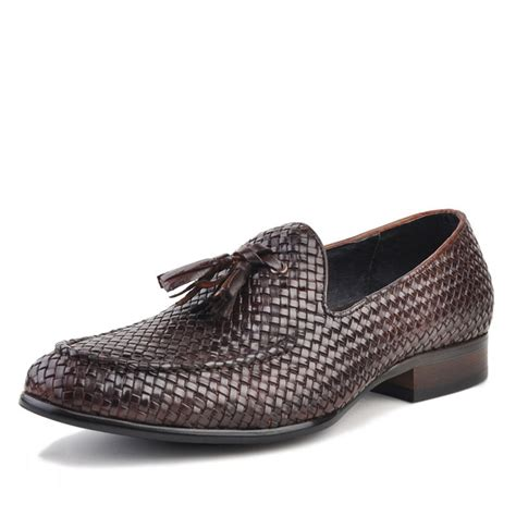 tassel loafer mens woven leather tassel loafers cw750058