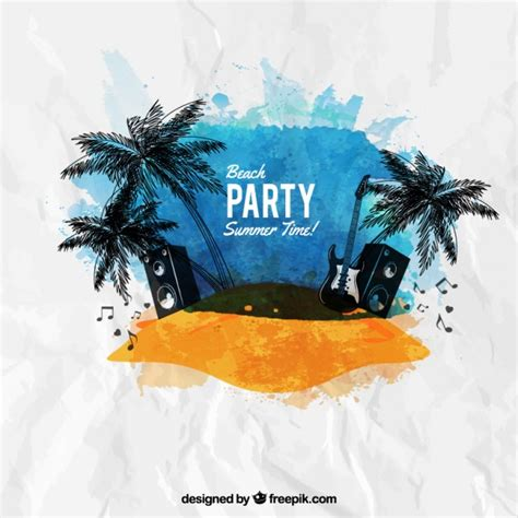 design summer year definition watercolor beach party poster vector free download