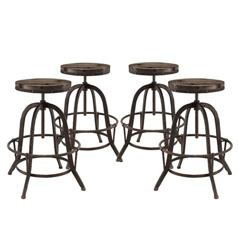 Bar Stool Sets Of 4 Set Of 4 Collect Industrial Bar Stool W Wood Seat Cast Iron Frame Brown