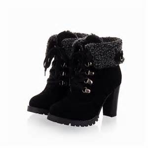 Fashion women ankle boots high heels lace up snow boots platform pumps