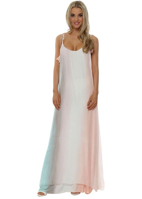 Maxi Dress Syari Pastel Realpic j l ombre rainbow silk maxi dress