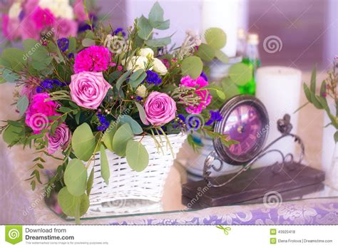 Flower To Decorate A Wedding by Flower Arrangement In A Basket Decorate The Wedding Table