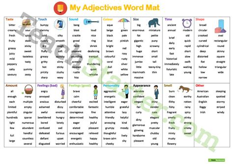 Adjectives Mat by Adjectives Word Mat Teaching Resource Teach Starter