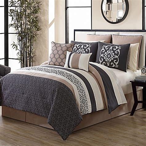 tan bedding canton 12 piece comforter set in grey tan bed bath beyond