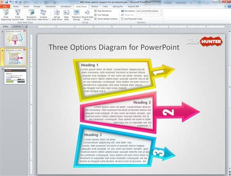 powerpoint design options free 3 options diagram for powerpoint presentations