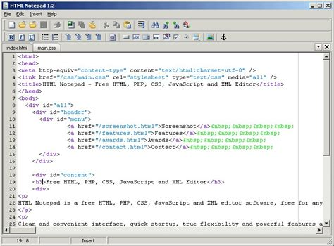 web page design tutorial notepad html notepad html notepad is a free html editor has one