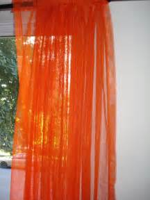 Orange Panel Curtains Orange Curtains Sheer Window Panels Vintage By Ladybumblevintage