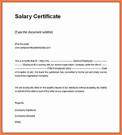 Salary Certificate Letter Word Format 9 Salary Certificate In Word Format Salary Slip