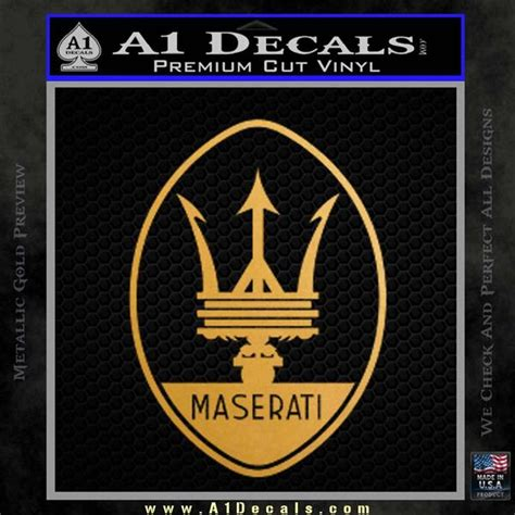 maserati gold logo maserati logo decal sticker ov 187 a1 decals