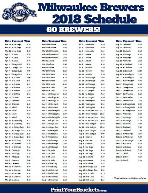 printable brewers schedule printable milwaukee brewers baseball schedule 2018