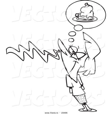 cartoon vector  cartoon woman smelling pie coloring