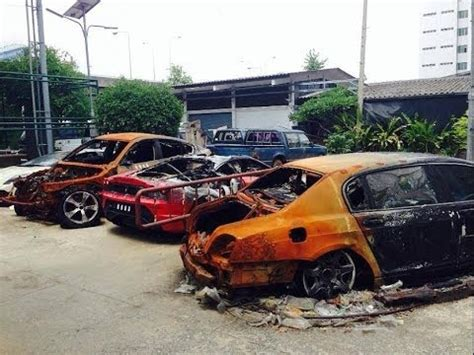 thai boat club road multiple exotic cars destroyed by fire in thailand youtube