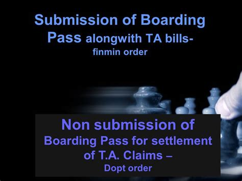 ta boarding of boarding pass alongwith ta bills finmin and dopt order central