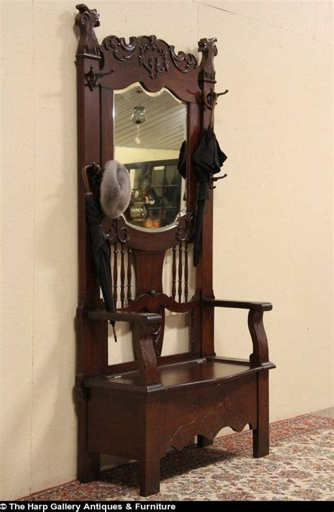antique oak hall tree with bench and mirror oak 1900 antique hall bench stand beveled mirror antique dreaming pinterest