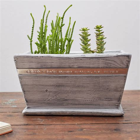 White Wooden Planter by Personalised White Wooden Planter By Warner S End