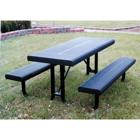 steel picnic table rectangular picnic table 6 ft plastic coated steel
