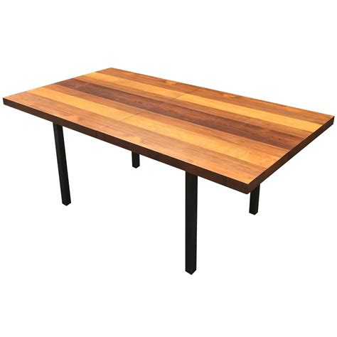 Butcher Block Dining Room Table Directional Mixed Woods Butcher Block Dining Table Manner Of Milo Baughman For Sale At 1stdibs