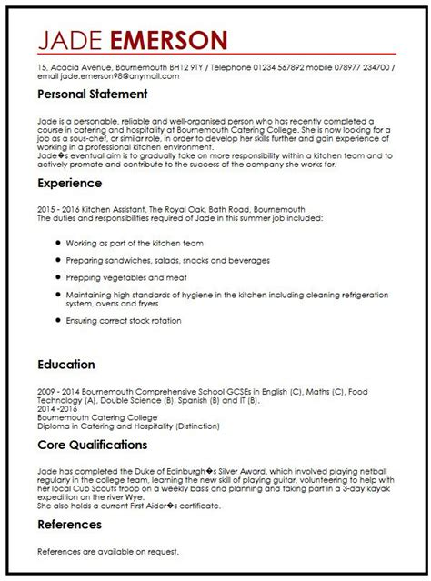 How To Write A Resume Teenager First Job by Cv Example For Teenagers Myperfectcv