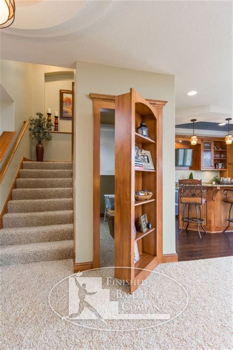 36 Kitchen Island by Basement Hidden Bookshelf Storage Traditional Basement