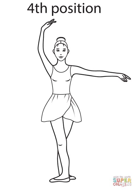 ballerina coloring pages first position ballet 4th position coloring page free printable