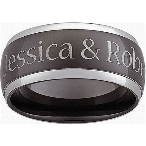 personalized s top engraved ring in black stainless