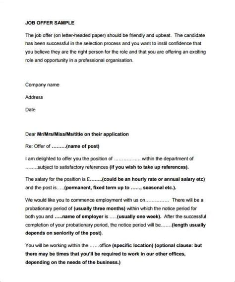 Appointment Letter Not Given Selection Letter Format 34 Offer Letter Formats Free Premium Templates Anamisat