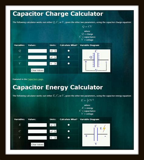 capacitor charge rate calculator capacitor calculator charge 28 images charging a capacitor miscel capacitor calculations