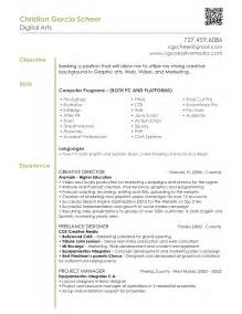 graphic design resumes sles graphic design resume exles graphic design resume