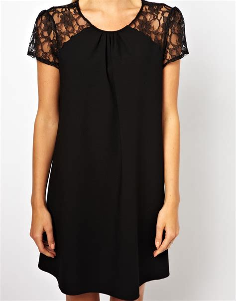 love swing dress love swing dress with lace raglan in black lyst