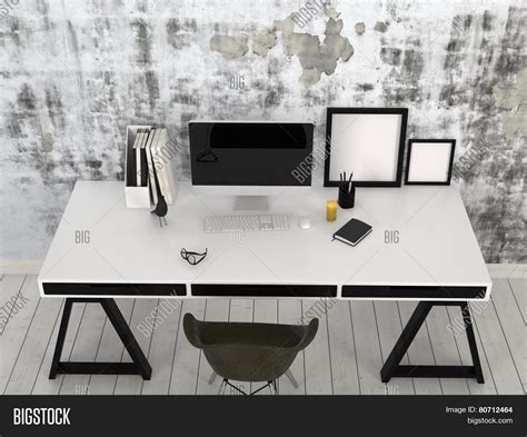 black and white desk 3d rendering of modern stylish black and white desk in an