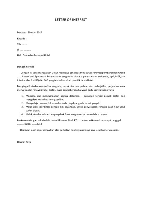 Contoh Surat Letter Of Intent Batubara Draft Lether Of Interest Loi Hotels