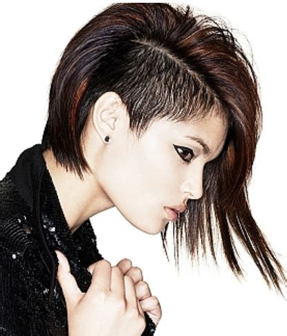 hairstyles short one sie longer than other punkish women hairstyle with very long on one side and