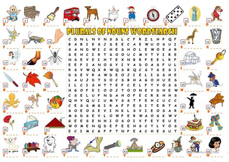 printable noun word search plurals of nouns wordsearch worksheet free esl