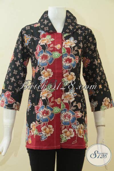 Blus Batik Elegan 263 Cap batik blus elegan dual motif baju batik cap tulis asli produk pakaian batik halus model