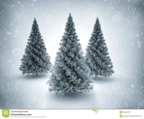 christmas trees and snow stock illustration image of